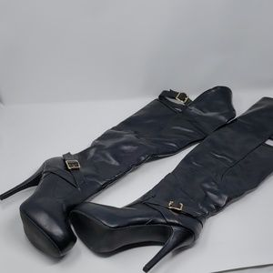 Almost New Knee high faux leather boots